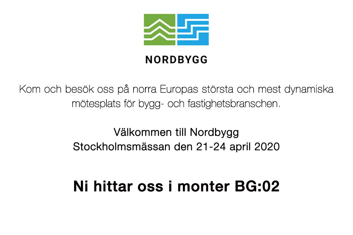 Träffa oss på Nordbyggsmässan 21-24 april 2020